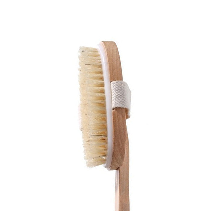 "18"" Back Body Shower Bath Brush Soft Natural Bristles Wood Long Removable Handle"
