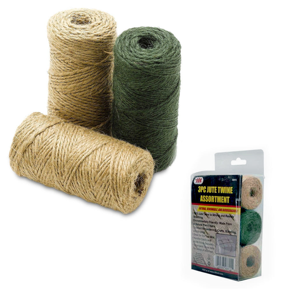 3 Rolls 443 Premium Jute Twine String Natural 2ply Cord Rope Craft