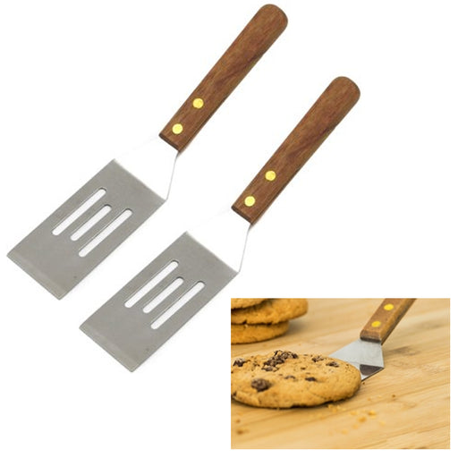 2 Pc Chef Craft Small Slotted Cookie Spatula Stainless Steel Wood Handle Kitchen