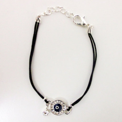 1  Evil Eye Bracelet Hamsa Kabbalah Zirconia Black String Lucky Charm Protection