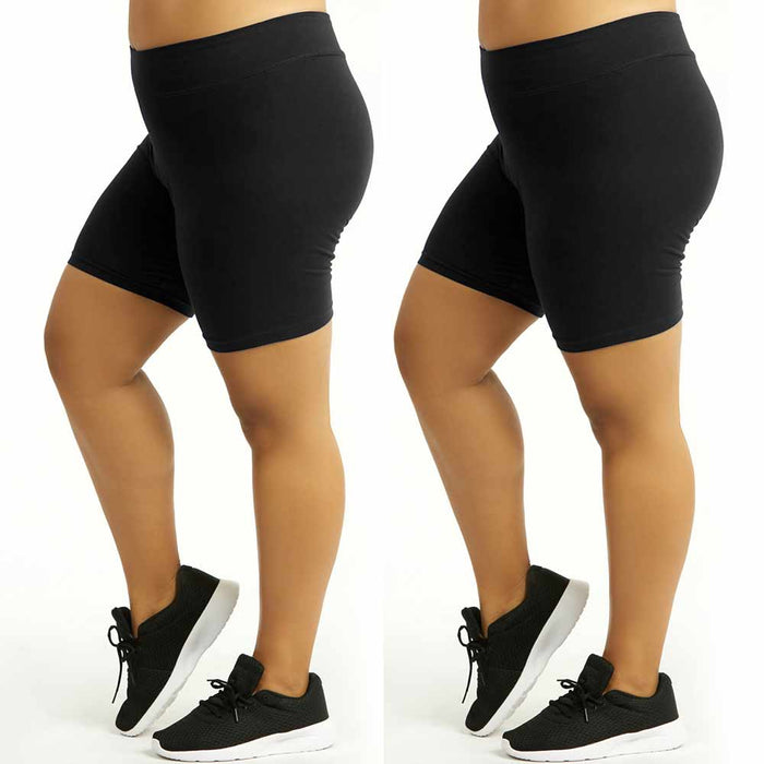 2 Womens Legging Shorts Cotton Stretch Exercise Yoga Athletic Black Plus Size XL