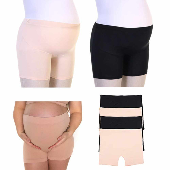 4 Pc Tummy Support Stretch Shorts Modal Maternity Over Bump Underwear Belly S/M