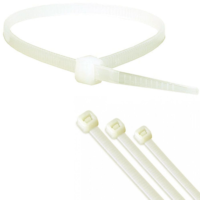 "100 Pcs Zip Tie Cable Heavy Duty 8"" 40 Pound Down Strap Wire Nylon Wrap White"