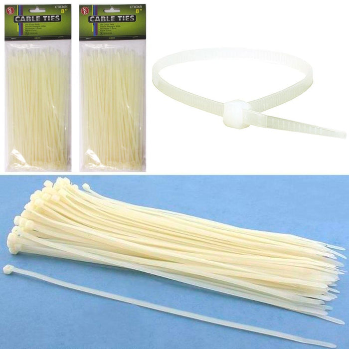 "200 Cable Ties Zip Cords 8"" Inch Transparent Color Nylon Wire Strap 40 Lbs New"