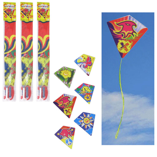 "3 Pc Diamond Kite 24"" x 26"" Flyers Fun Kids Breeze Beach Outdoor Games Plastic"