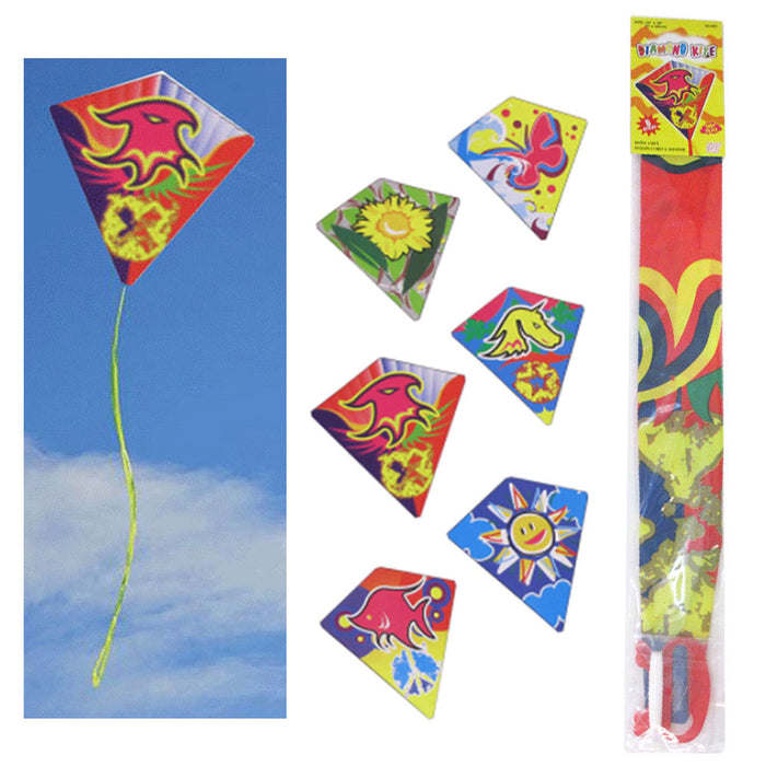 "6 Pc Diamond Kite Easy Flyer Fun Kids Breeze Beach Outdoor Games Toys 24"" x 26"""