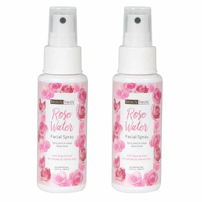 2 Pc Rose Water Spray Face Toner Mist Aloe Vera Natural Skin Care 80ml 2.81 Oz