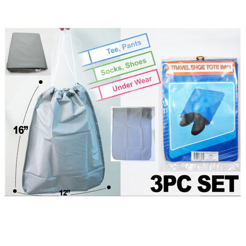 3 Pack Travel Storage Shoe Bags Luggage Waterproof Suitcase Case Drawstring New