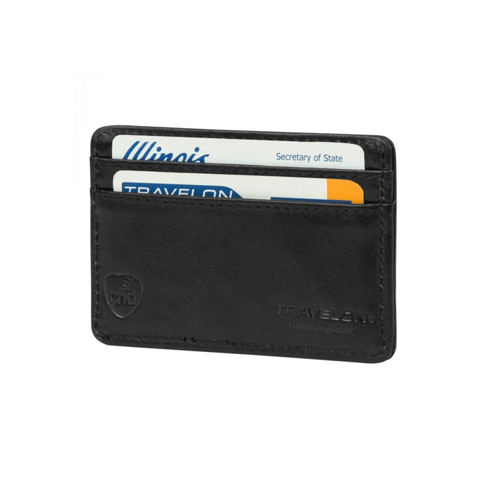 Travelon Safe ID Leather Card Sleeve Slim RFID Blocking Black Wallet Credit Card