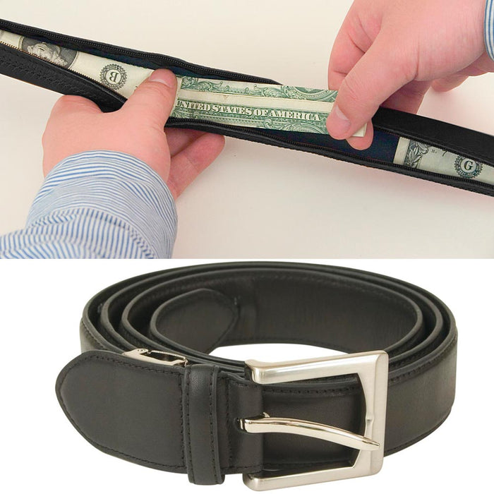 "Travelon Zippered Money Belt Leather Black One Size 32""-46"" Travel Waist Wallet"
