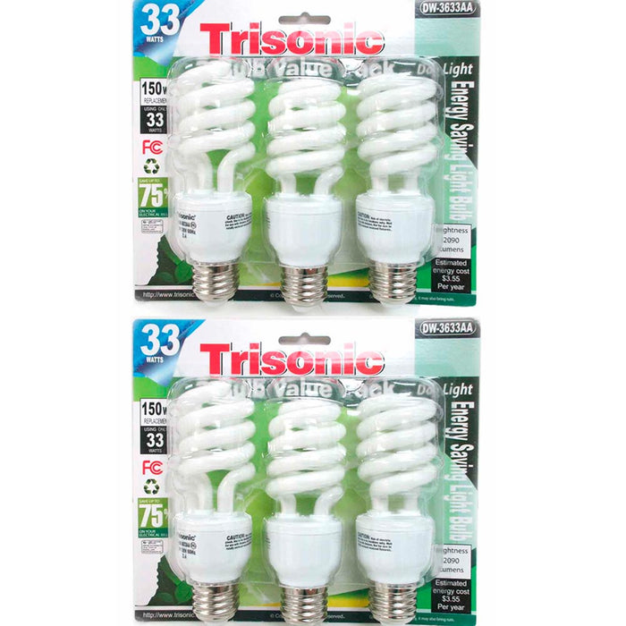 6 PC Daylight Bulb Light 33 W Energy 150 Watt Output White Compact Fluorescent