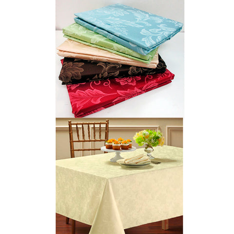 1 Damask Tablecloth 60 X 84 Oblong Polyester Easy Care Asst Colors Dining Room