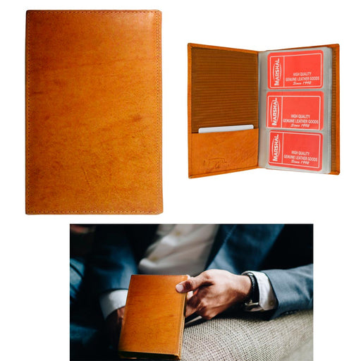 1 Tan Genuine Leather Business Card ID Holder 120 Cards Organizer Book Wallet