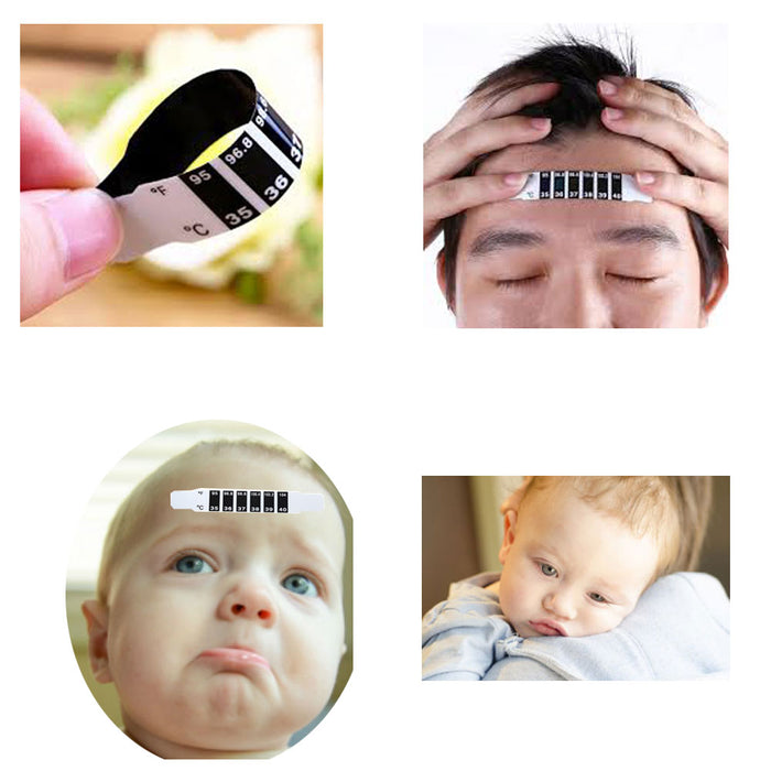 1 Head Forehead Thermometer Strip Baby Fever Body Heat Degrees Temperature Test