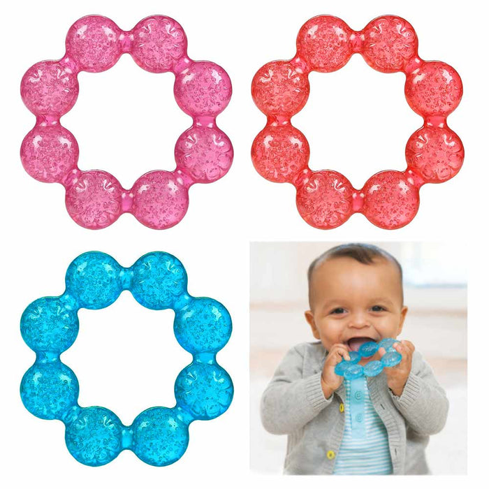 1 Pc Baby Teething Ring Water Filled Teether Chewing Toy BPA Free Soothing Gums