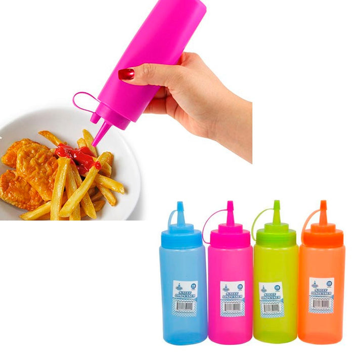 4 Plastic Squeeze Bottle 16 Oz Condiment Ketchup Mustard Mayo Dispenser Oil Salt