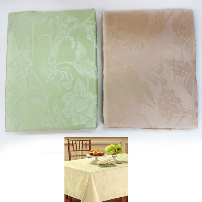 "1Pc Fabric Oblong Tablecloth Rectangular 60"" X 104"" Damask Pattern Asst Colors"