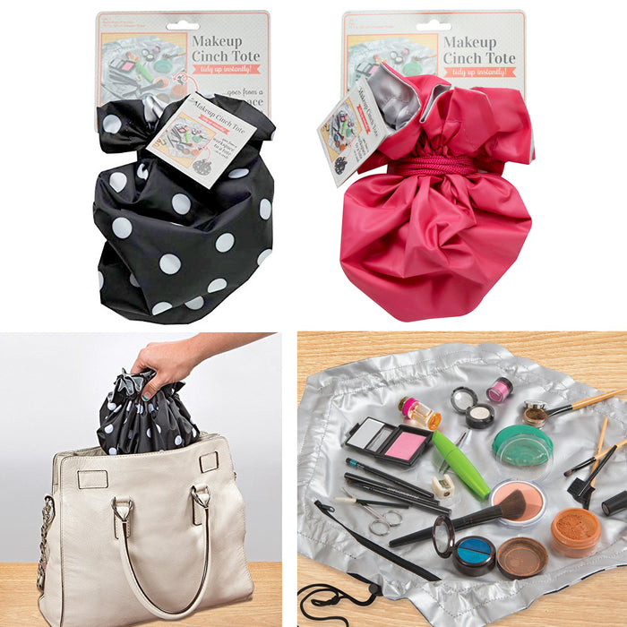 2 X Makeup Cinch Tote Bag Organizer Cosmetic Travel Beauty Pouch Toiletry Case
