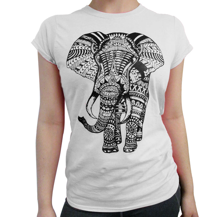 Ladies T-Shirt Hindu Fashion African Elephant Mandala Henna Tank Top Tee White M