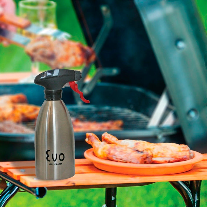 Evo Oil Stainless Steel Trigger Sprayer Bottle Cooking BBQ Kitchen 16 Oz Sprayer