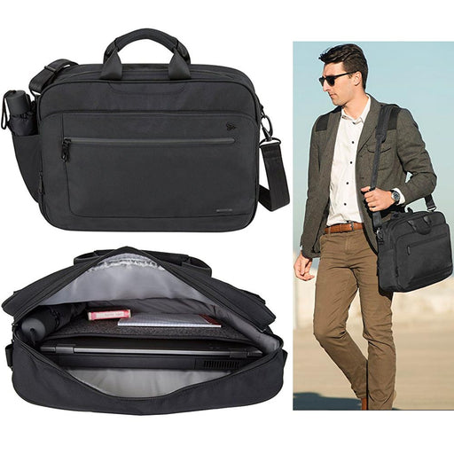 "Travelon Men Briefcase Anti Theft 15"" Messenger Bag Laptop Business Travel Black"
