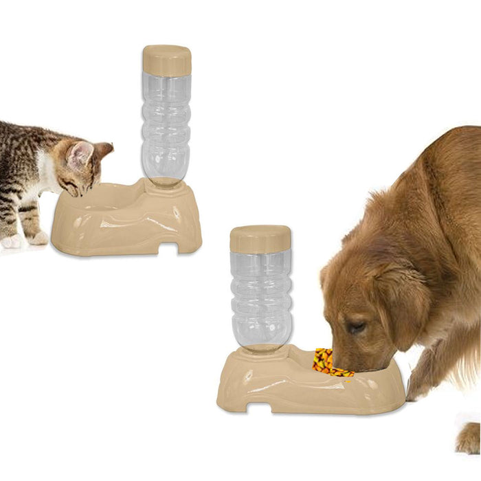 Plastic Pet Dog Puppy Cat Automatic Water Food Dispenser Combo Dish Bowl Feeder