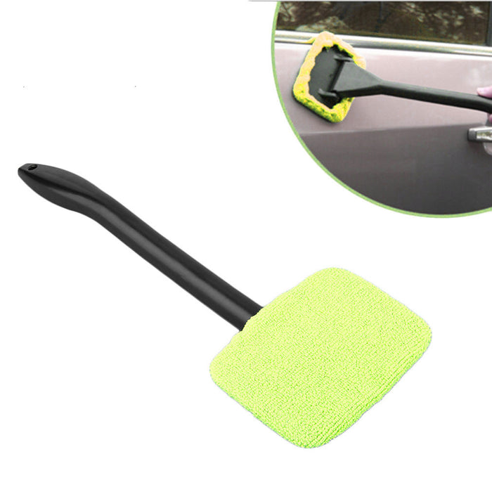 1 Microfiber Windshield Cleaner Glass Wiper Handle Easy Clean Car Shine Windows