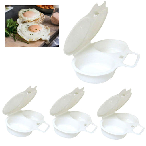 4 Microwave Oven Two Egg Poacher Sandwich Breakfast Instant Cooker Kitchen Tool