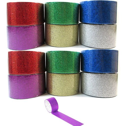 12 Rolls Decorative Glitter Tape Crafting Project Adhesive Assorted Colors 18yd