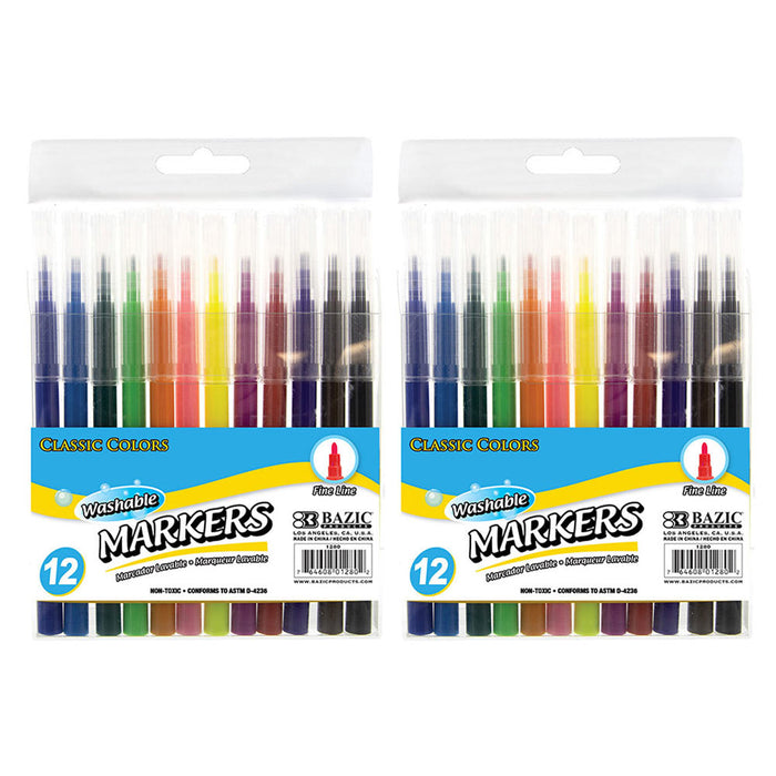 24 Pc Washable Markers Pens Fine Fibre Tipped Drawing Colour Art Coloured Pens