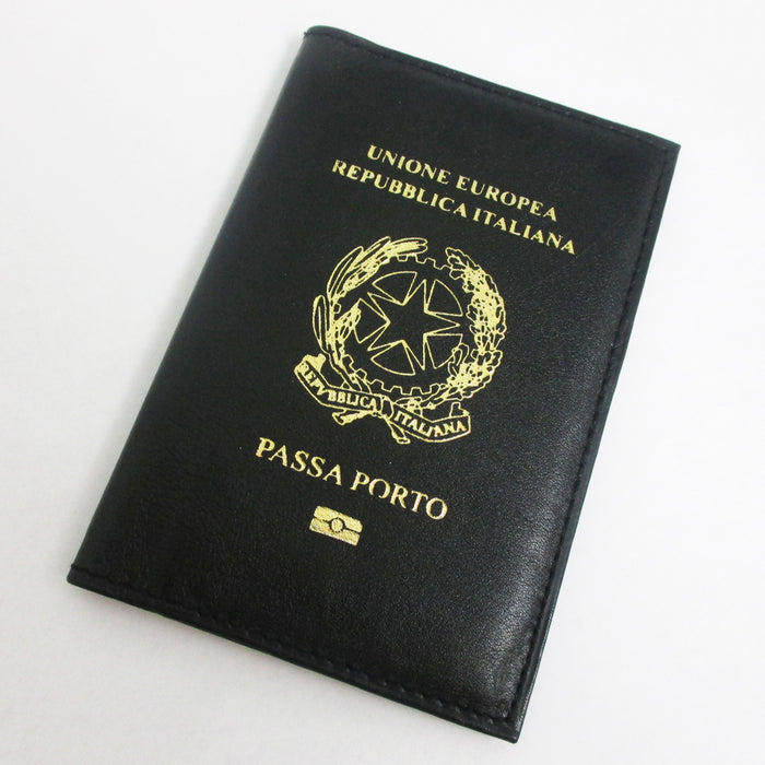 Italian Italy Genuine Leather Passport Cover Holder Protector Europe Union New