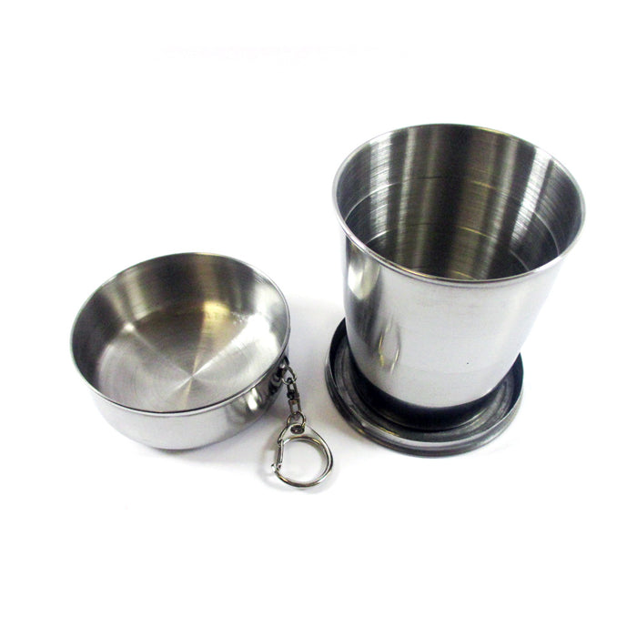 Stainless Steel Collapsible Cup Travel Portable Folding Telescopic Clip On 8.5Oz