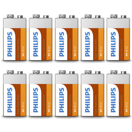 10 x 9 Volt 9V Batteries Philips Heavy Duty Battery 6F22 Alarm Detector Exp 2022