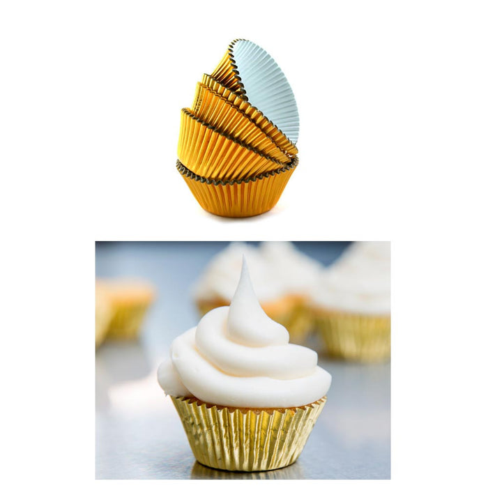 500 Mini Foil Gold Baking Cups Cupcake Muffin Liners Bake Pastry Party Samplers