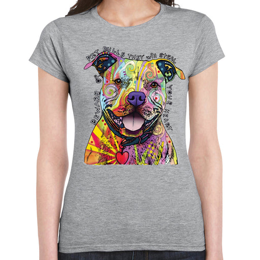 Beware Pitbull T shirt Dean Russo Colorful Pet Dog Love Lady Tee Tank Top Grey L