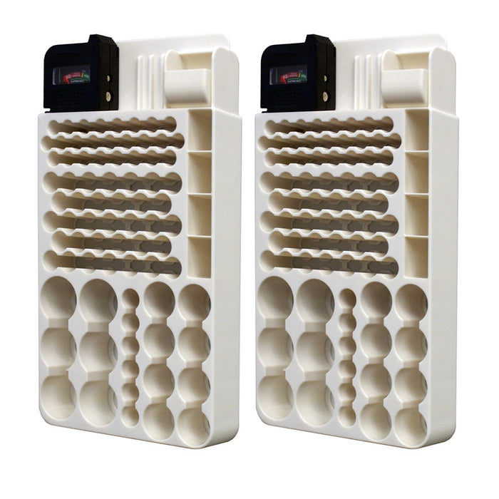2Pk 82 Battery Storage Organizer Removable Tester Storage Rack Holder AA AAA 9V