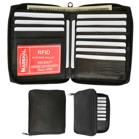 1 Mens RFID Leather Wallet Black Hipster Bifold Zip Around ID Card Window Case