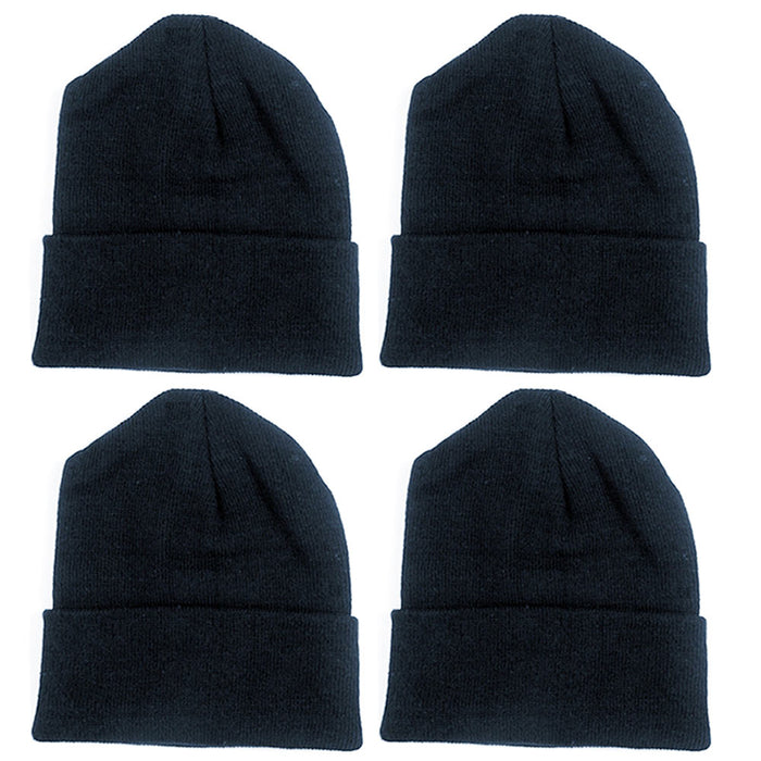 4 PC Beanie Cap Plain Ski Knit Skull Hat Cuff Winter Warm Slouchy Men Women Hat
