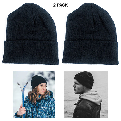 2 PC Cuff Beanie Knit Hat Cap Slouchy Skull Ski Men Women Plain Winter Warm Hats