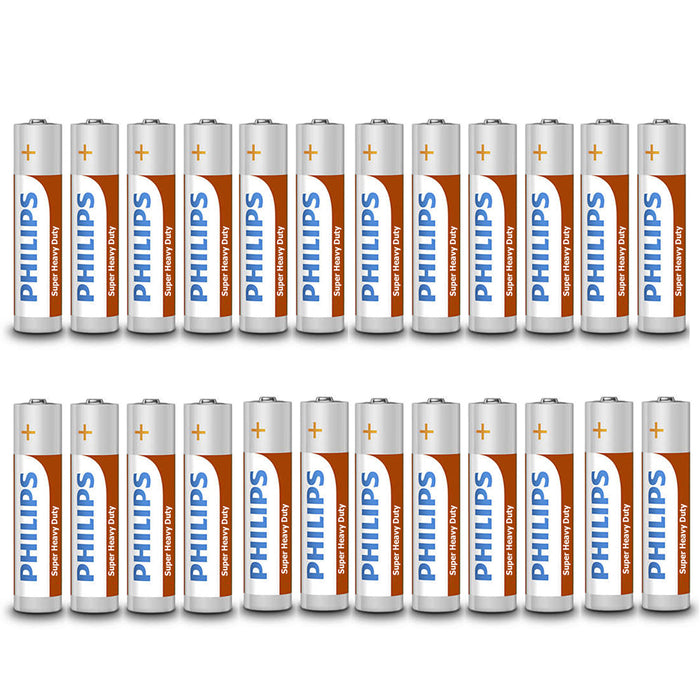 24 Pc AAA Batteries Philips Triple A R03P 1.5V Zinc Chloride Battery Toys Remote