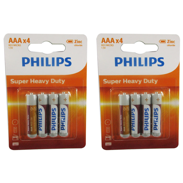 12 Pcs Philips Batteries AAA R03P 1.5V Zinc Chloride Battery Toys Remote Control