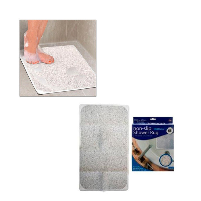 "1 Shower Rug Non Slip Fast Drying Woven Bath Tub Mat 29"" X 17"" Adhesive Suction"
