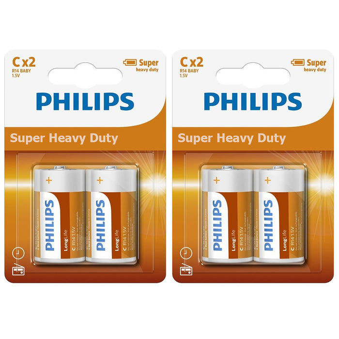8 Size C Philips Super Heavy Duty Battery 4 Packs x 2 Batteries R14 1.5V Ex 2019