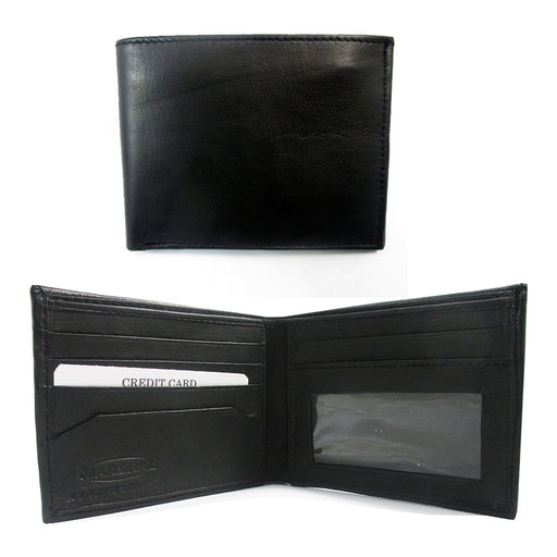 Black Genuine Leather Mens Wallet Bifold ID Window Credit Card Holder Bill Slot