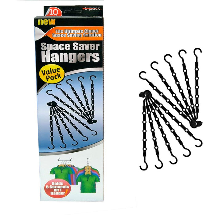 10 Pc Space Saver Hangers Closet Organizer Pants Rack Magic Hangers 5 In 1 New !