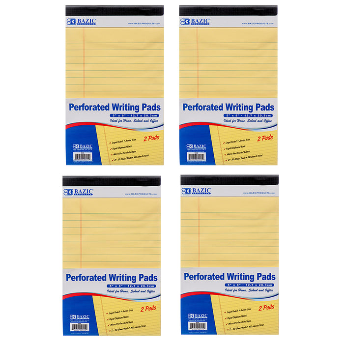 "8x Legal Note Pads Perforated Ruled Writing 5"" x 8"" Canary Yellow 50 Sheets Each"