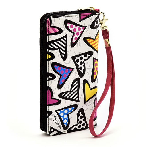Romero Britto Large Wallet White Heart Case Women New Purse Clutch Coin Holder !