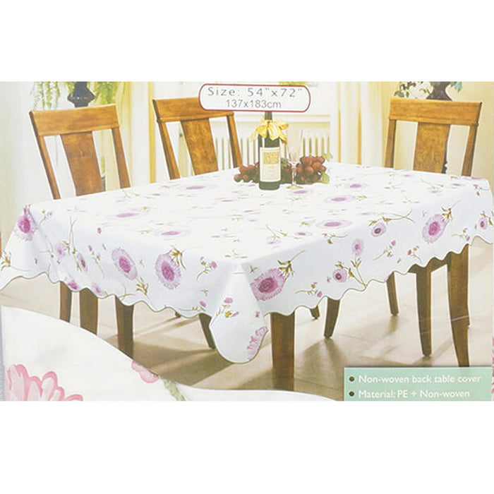 "1 White Floral Rectangle Tablecloth 54""X72"" Design Table Cover Party Wipe Clean"