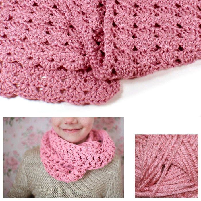 1 Beginner Easy Yarn Crochet Knitted Scarf Kit Dusty Rose Knit Handmade Kid Gift