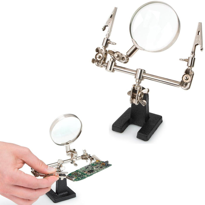 Adjustable Helping Hand Soldering Stand Glass Lens 2.5X Magnifier Alligator Clip